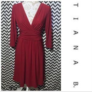 Tiana B. Maroon deep V dress